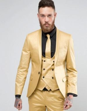 Noose & Monkey Супероблегающий пиджак с оттенком металлик. Цвет: золотой