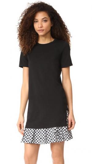 Платье-футболка с оборками Clu. Цвет: черный с черной клеткой гингем