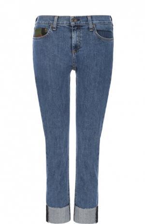Укороченные джинсы-скинни с отворотами Rag&Bone. Цвет: синий