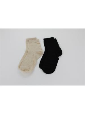 Носки, 2 пары Гамма. Цвет: черный, бежевый