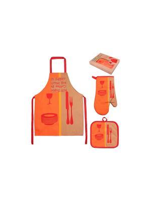 Набор - фартук, прихватка, рукавичка Оранжевое настроение EL CASA. Цвет: оранжевый