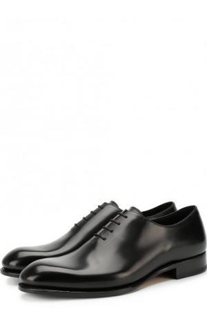 Классические кожаные оксфорды Brioni. Цвет: черный