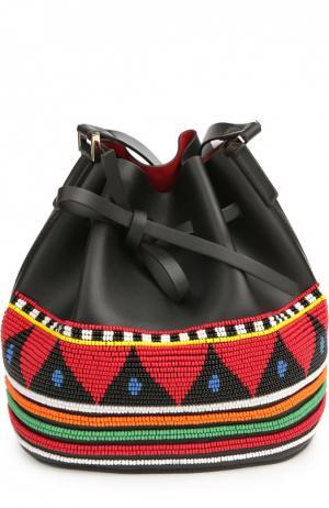 Сумка Daliah Bucket Africa с вышивкой бисером Les petits joueurs. Цвет: черный
