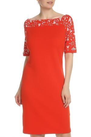 Полуприлегающее платье с вырезом Лодочка Maria Grazia Severi. Цвет: красный