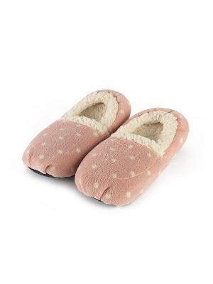 Тапочки-грелки розовые в горох Warmies. Цвет: розовый