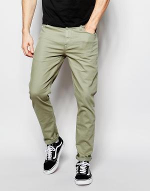 ASOS Зауженные светлые джинсы цвета хаки. Цвет: зеленый