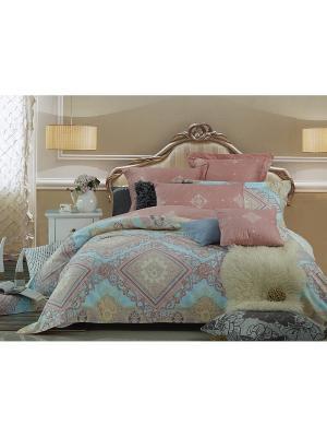 Комплект постельного белья ЕВРО сатин, рисунок 589 LA NOCHE DEL AMOR. Цвет: голубой
