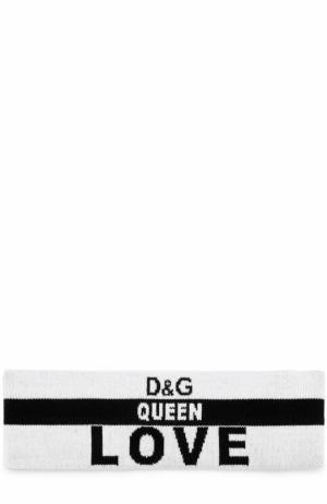 Шерстяная повязка с надписями Dolce & Gabbana. Цвет: черно-белый