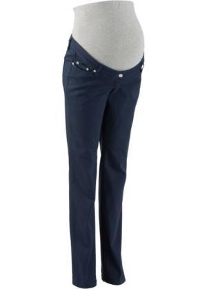Мода для беременных: брюки с прямыми брючинами, cредний рост (N) (темно-синий) bonprix. Цвет: темно-синий