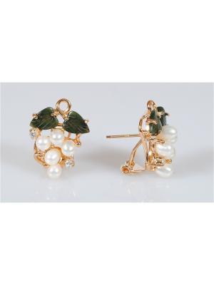 Серьги Жемчуг-нефрит Lotus Jewelry. Цвет: золотистый, белый, зеленый