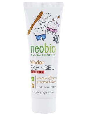 Neobio Гелевая зубная паста для детей без фтора с био-яблоком и папайей. Цвет: белый