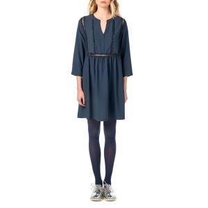 Платье однотонное короткого и расклешенного покроя с длинными рукавами BEST MOUNTAIN. Цвет: темно-синий