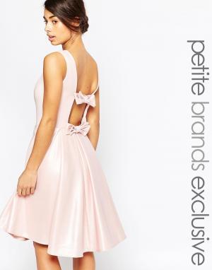 John Zack Petite Платье для выпускного с бантом сзади. Цвет: розовый
