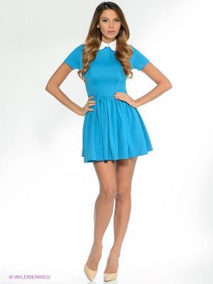 Платье Анна Чапман. Цвет: голубой, белый