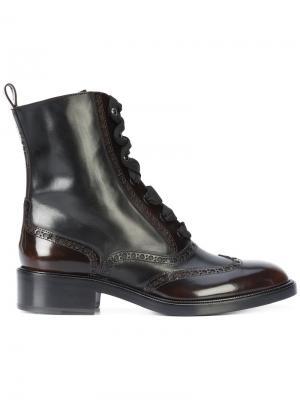 Сапоги с перфорацией и шнуровкой Sartore. Цвет: коричневый