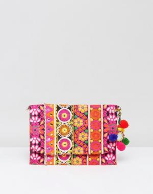Park Lane Клатч с вышивкой и съемным ремешком. Цвет: розовый