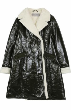 Двубортное пальто с фактурной отделкой Ermanno Scervino. Цвет: хаки