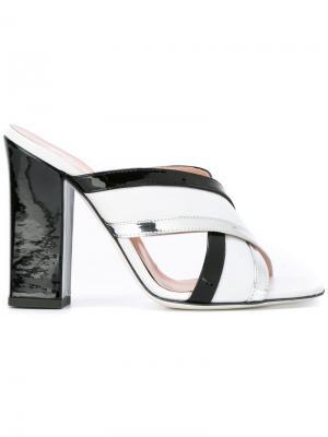 Босоножки на массивном каблуке Pollini. Цвет: чёрный