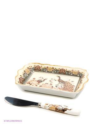 Тарелочка под масло Павлин на бежевом Elan Gallery. Цвет: бежевый, белый, коричневый