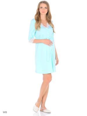 Халат для беременных и кормящих с кружевом рукавом 3/4 Hunny Mammy. Цвет: светло-зеленый