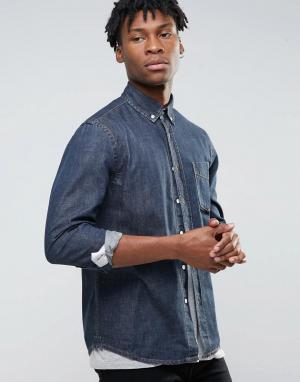 Hoxton Denim Джинсовая рубашка цвета индиго. Цвет: темно-синий