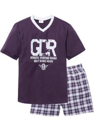 Пижама с  шортами (сливовый/белый) bonprix. Цвет: сливовый/белый