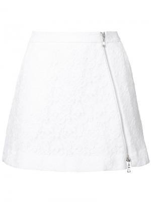 Кружевная юбка на молнии Guild Prime. Цвет: белый
