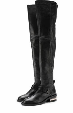 Кожаные ботфорты на декорированном каблуке Nicholas Kirkwood. Цвет: черный