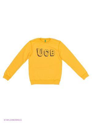 Свитер United Colors of Benetton. Цвет: желтый, серый