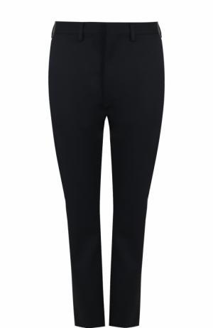 Однотонные шерстяные брюки прямого кроя Vetements. Цвет: темно-синий