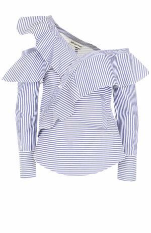 Хлопковая блуза асимметричного кроя в полоску self-portrait. Цвет: голубой