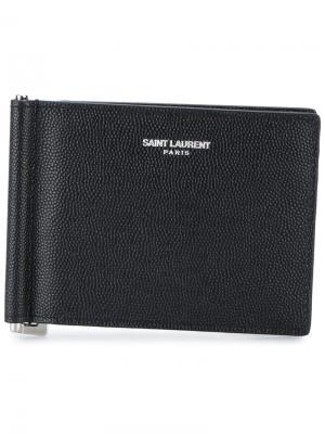 Бумажник с зажимом для купюр Saint Laurent. Цвет: чёрный
