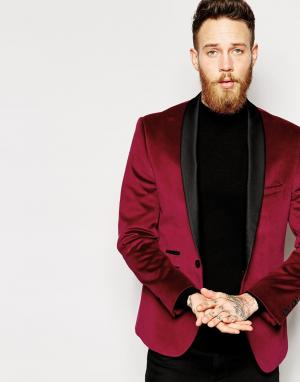 Red Eleven Однотонный бархатный пиджак. Цвет: красный