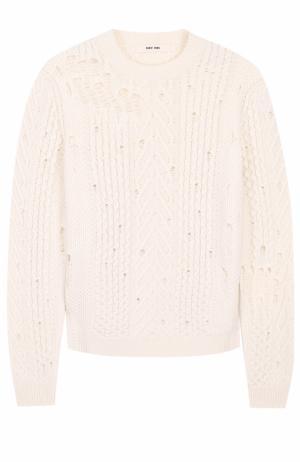Шерстяной свитер фактурной вязки Damir Doma. Цвет: белый