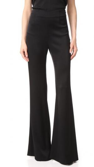 Атласные брюки с высокой талией Galvan London. Цвет: полночный