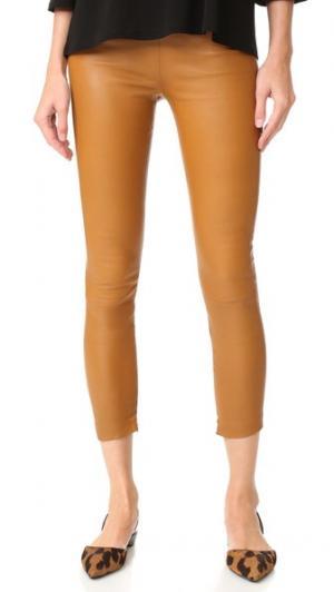 Укороченные кожаные брюки Brittany ThePerfext. Цвет: коньячный