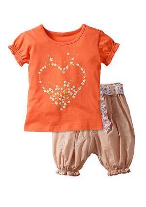 Комплект: кофточка + брюки. Цвет: лососевый/бежевый, ярко-розовый/белый