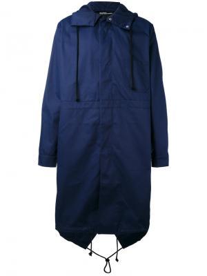 Пальто с капюшоном и принтом на спине Raf Simons. Цвет: синий