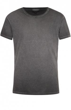 Хлопковая футболка с круглым вырезом Belstaff. Цвет: темно-серый