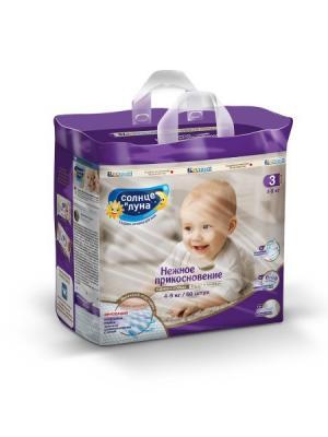 Нежное прикосновение подгузники для детей 3/M 4-9кг mega-pack 60шт СОЛНЦЕ И ЛУНА. Цвет: индиго, светло-бежевый, светло-голубой