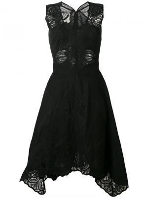Расклешенное платье с вышивкой Jonathan Simkhai. Цвет: чёрный