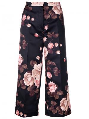 Укороченные брюки с цветочным принтом Rochas. Цвет: чёрный