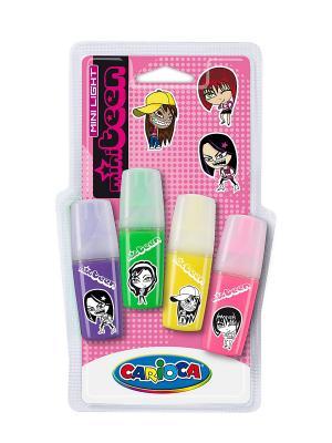 Набор мини-текстмаркеров SENSATION для девочек, 4 цвета Universal. Цвет: синий, зеленый, розовый, желтый