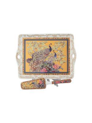Поднос Павлин золотой Elan Gallery. Цвет: золотистый, синий, коричневый, розовый