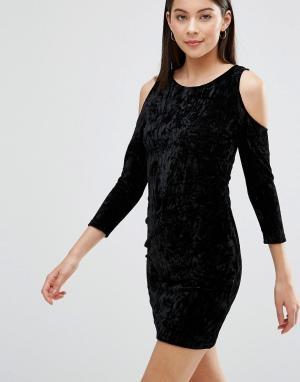 Parisian Бархатное платье с вырезами на плечах. Цвет: черный