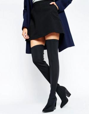 Office Эластичные сапоги-ботфорты на каблуке Harlow. Цвет: черный