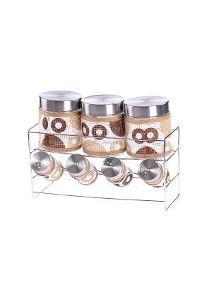 Набор банок для сыпучих продуктов и специй 7 предметов на металлической подставке PATRICIA. Цвет: светло-коричневый