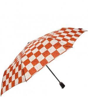 Складной зонт в клетку Doppler. Цвет: оранжевый