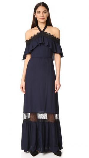 Платье Mitsy с открытыми плечами и американской проймой alice + olivia. Цвет: индиго/черный