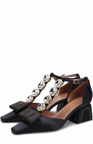 Атласные туфли с бантом и кристаллами Marni. Цвет: черный